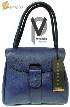 Vera Pelle Schultertasche 24cm Leder Handtasche Blau RotTrageriemen Apropos