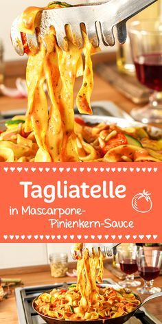 Tagliatelle, Zucchini und Tomaten in einer wunderbar cremigen Mascarpone-Sauce… Tagliatelle, zucchini and tomatoes in a wonderfully creamy mascarpone sauce. The whole is topped by the nutty pine nuts. Veggie Recipes, Pasta Recipes, Vegetarian Recipes, Cooking Recipes, Healthy Recipes, Yummy Food, Tasty, Healthy Drinks, Soul Food