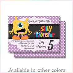Personalized Printable Invitations | Little Monster| Birthday