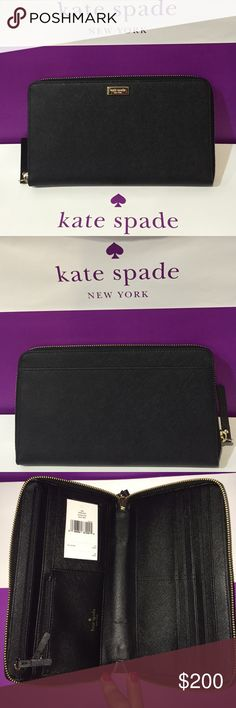Kate Spade - TALLA Wallet. NWT. Black Kate Spade - TALLA -Typically known as the Travel Wallet. NWT. NO TRADES.   Make your offer NOW! 😄 kate spade Bags Wallets