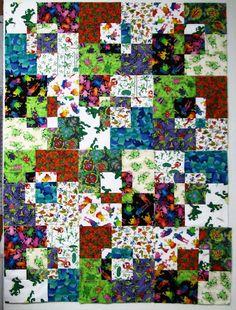 somebody else made a crazy frog quilt! Exuberant Color: stack and slash