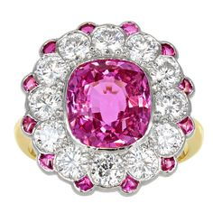 Pink Sapphire Diamond Cluster Ring | From a unique collection of vintage cluster rings at http://www.1stdibs.com/jewelry/rings/cluster-rings/