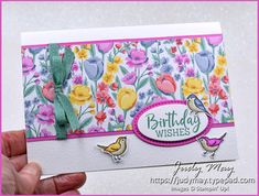 Stampin' Up! Flowers For Every Season DSP & Quite Curvy - Judy May, Just Judy Designs, Melbourne Diy Birthday, Birthday Wishes, Birthday Cards, Happy Birthday, Fun Fold Cards, Folded Cards, Flower Spray, Alcohol Markers, Cute Birds