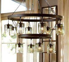Modern spanish style wrought iron chandelier | Pottery Barn