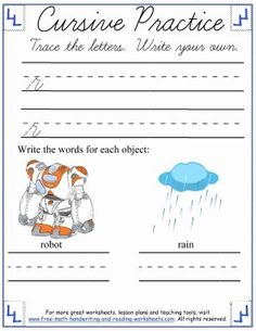 Learn how to form the cursive lowercase letters 'm' through 'r' with these printable cursive worksheets & activities. Cursive Writing Worksheets, Reading Worksheets, Handwriting Practice, Free Math, Letter Recognition, Simple Words, Kids Writing, Lower Case Letters