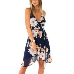 Sexy Women Summer Deep V-Neck BOHO Evening Party Dress Off the Shoulder Beach Casual Dresses Sundress #Affiliate