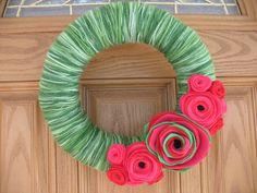 Summer Watermelon Garden Wreath-Summer Decor-  Green Yarn and Red and Pink Felt  Flower Wreath -- Fourth of July Wreath. $34.00, via Etsy.