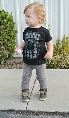 The Johnny Cash shirt is to die for! Little Boy Fashion, Baby Boy Fashion, Toddler Fashion, Toddler Outfits, Baby Boy Outfits, Kids Outfits, Kids Fashion, Tomboy Outfits, Emo Outfits
