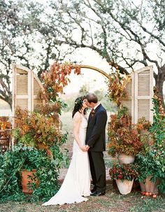 Re Purpose Your Moms Kitchen Shudders By Turning Them Into A Gorgeous Fall Arbor Wedding ArchesWedding CeremonyCeremony