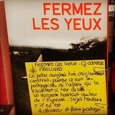 Fermez les yeux de CJ Cooper Editions Préludes  Coup de coeur d'Alexandre librairie Port Maria à Quiberon #livre #lespetitsmotsdeslibraires #book #polar