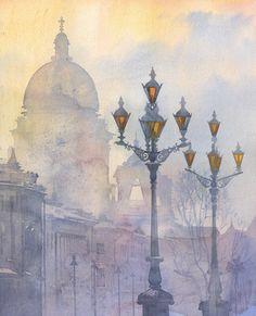 Polina Kukulieva Watercolour: foggy town