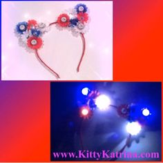 #LUVIT 😻 Making so many Red, White and Blue #HairAccessories recently! 🎉🇺🇸🎉 Check-out this super fun #Patriotic LED #CatEarHeadband with rhinestones that went to a beautiful #FlowerChild 🌸 Get your Patriotic #CatEars at www.KittyKatrina.com in our Holiday Crowns / Headbands Section 😘 #independenceday #4thofjuly #fourthofjuly #kittyears #ledflowercrown #flowercrown #flowerheadband #rave #ravecostume #raveoutfit #festivalfashion #edmfashion #electricdaisycarnival #edc #lollapalooza…
