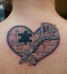 My second tattoo that I have. It symbolizes finding the missing piece to my puzzle. The end of the key is a puzzle piece and the missing piece in the heart is symbolizing someone that will have the key to my heart. The missing piece to my puzzle