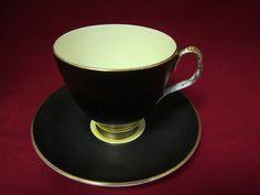 Royal Albert Solid Black Inner Yellow Color Demitasse Cup Saucer 4D | eBay