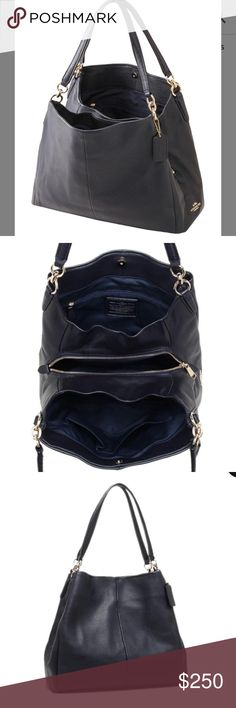 COACH PHOEBE IN MIDNIGHT BLUE Like new.. I only used it for couple of weeks.. Still looks new outside only one little flaw inside that the lining of  middle compartment got ripped at the seam in one corner (see last picture) because I forcefully tried to fit my oversized wallet in it... But it's easy fix and I'll fix it before shipping. Any questions just ask Measurements: 13.5 x 11.5 x 5.75 in. No dust bag Coach Bags