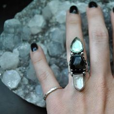 """1,314 Likes, 31 Comments -  Dark Fawn  100% Vegan. (@darkfawnjewelry) on Instagram: """"Two Crystal Trio rings are set to be listed tonight including this little gemshow of: faceted green…"""""""