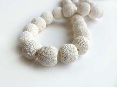 White Volcanic Lava Stone beads  13mm Pair by NaturalStoneSupply, $1.65