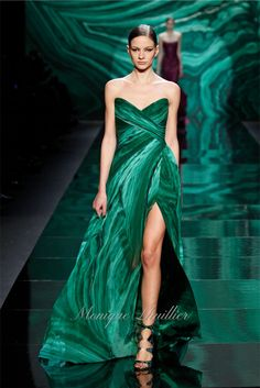 Fall 2013 | Monique Lhuillier Green malachite print chiffon strapless draped gown with high slit