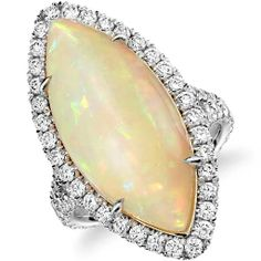 Opal and Diamond Halo Split Shank Ring in 18k White Gold (6.84 ct.) $8500