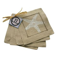 I pinned this Starfish Cocktail Napkin in White & Tan (Set of 8) from the A Seaside Soiree event at Joss and Main!