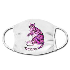 Mewow, was ist mit dem Stubentiger bloß los? Folge der pinken Katze und finde es heraus. Shirt Designs, Pink Cat, Mugs, Protective Mask, Cats, Tumblers, Mug, Cups