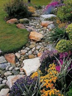 Pebble and rock river bed for garden drainage by Magnum02