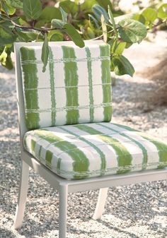 Designed for active living and exposure to the elements in mind, Thibaut introduces Solstice—a collection of Sunbrella® indoor/outdoor fabrics that have style with staying power. Outdoor Fabric, Outdoor Chairs, Dining Chairs, Dining Room, Made To Measure Curtains, Interior Decorating, Interior Design, Curtain Designs, Sunbrella Fabric