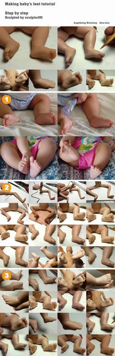 Making baby's feet tutorial  After Making baby's head and face tutorial, and hands, here is the way of Making baby's feet tutorial to explain the methods that I usually use ...