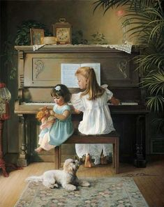 Hi Donna, I have always loved this painting by Greg Olsen. It reminds me of when I practiced at the piano with my sister beside me. Hope you had a good day Donna. Greg Olsen Art, Arte Lds, Creation Image, Piano Art, Lds Art, Gallery Website, Gif Animé, Animation, Beautiful Paintings
