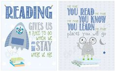 """Items similar to Read children's space theme - Series of TWO """"reading"""" prints on Etsy Classroom Setup, Future Classroom, Classroom Organization, Reading Posters, Reading Themes, Reading Quotes, School Themes, School Fun, School Stuff"""