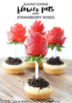 Sugar Cookie Flower Pots with Strawberry Roses   Easy Treat Recipe   A simple Mother's Day dessert or gift