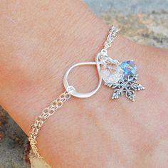 Sterling Silver Snowflake Bracelet - Swarovski Crystal Bracelet - Snowflake Jewelry - Infinity Bracelet