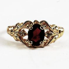 Vintage Victoreian Sterling Silver Gold Plated Ring by Spoonier, $19.00