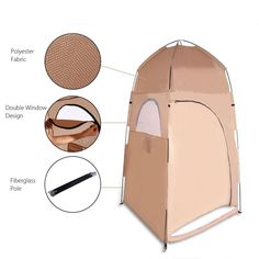 Portable Toilet Tent Collapsible Shower Tent Beach Shower Outdoor Camping Changing Room Pop Up Privacy Tent with Carry Bag