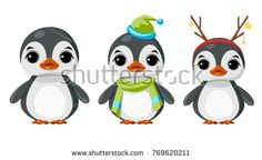 Cute penguin in winter clothes. Raster clip art.