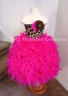 Feather Dress   Feather Tutu Dress  Giraffe by threadedcreations, $125.00
