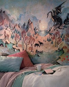 Dragon Hills wall tapestry by UllaThynell on DeviantArt Dream Rooms, New Room, Home Projects, Wall Tapestry, Room Inspiration, Bedroom Decor, Bedroom Green, House Design, Interior Design