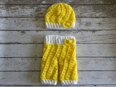 Crochet baby pants and matching hat Yellow by TrebleStitchBoutique, $40.00