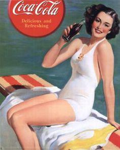 coca cola coke pin up girl retro vintage l Coca Cola Poster, Coca Cola Ad, Always Coca Cola, Vintage Advertising Posters, Vintage Advertisements, Vintage Ads, Vintage Posters, Retro Posters, Retro Ads
