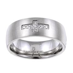 @Overstock - Whether you want a spiritual wedding band or an everyday ring that showcases your faith, this men's cross band is the perfect accessory. The stainless-steel construction features a satin-finish, and the cross sparkles with nine round-cut diamonds.http://www.overstock.com/Jewelry-Watches/Stainless-Steel-Mens-Diamond-Accent-Cross-Band/5077491/product.html?CID=214117 $48.49