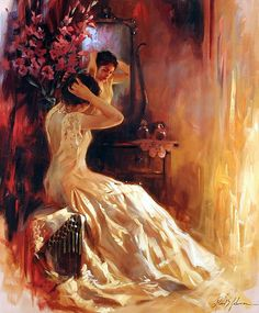 Richard S. Johnson a woman putting her face on and getting ready for a big day~