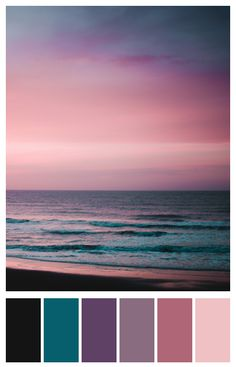 Pink sky, teal ocean – wave of summer - photo: leclectique-mag You are in the right place about wedding color palette maroon Here we offer you the most beauti Color Schemes Colour Palettes, Paint Color Schemes, Colour Pallette, Bedroom Color Schemes, Bedroom Colors, Color Combos, Ocean Color Palette, Beach Color Palettes, Purple Color Schemes