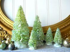 5 Pale green bottle brush Christmas trees vintage style mica glittered Farmhouse Shabby Cottage Holiday decor