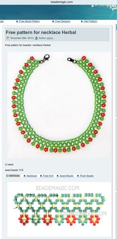Free pattern for necklace Herbal - Best Pins Live - Free pattern for necklace Herbal – Best Pins Live Free pattern for necklace Herbal – Best Pins Live Diy Necklace Patterns, Beaded Earrings Patterns, Seed Bead Patterns, Beading Patterns, Seed Bead Bracelets Tutorials, Beading Tutorials, Seed Bead Jewelry, Bead Jewellery, Beaded Crafts