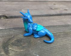 Handmade Cute Little Blue Dragon Figurine Polymer Clay