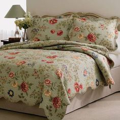 This American Traditions Edens Garden quilt set features flowering vines on a bed of sage green with detailed machine stitching and scalloped edges. Set includes one x quilt and two pillow shams, x Cotton with cotton blend fill. Decor, Beige Comforter, Garden King, Colorful Comforter, Furniture, Beautiful Bedding, Pillows, Bedroom Decor, Home Decor