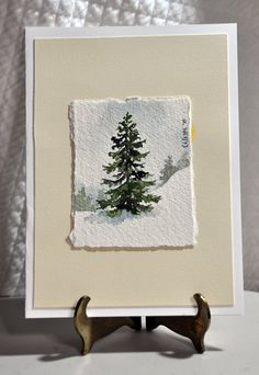 Original Miniature Watercolor Painting Winter Tree
