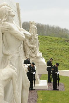 Prev      Next       The vigil party during the main commemorative ceremony at the Canadian National Vimy Memorial in France.