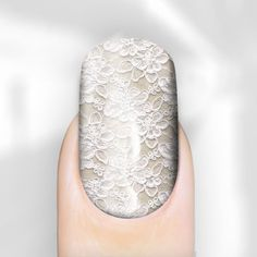 Wedding Nails ~ Pastel White Lace nail wraps Wow, I'm wearing a white lace dress with nude lining for a wedding next week, this nail design perfectly matches my dress