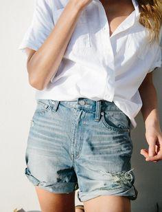 Les jeans taille haute font de parfaits shorts ! (look Madewell)